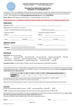Heritage Day 2015 - Stallholder Application Form