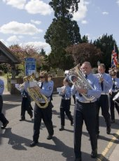1 - The Hook Scout and Guide band and members of the British Legion depart from St Andrew's Church