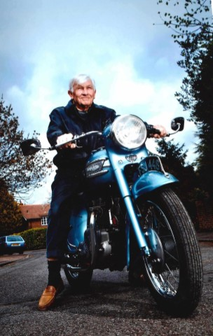 Gordon Mills on his 1960 Triumph 350 twin motorbike