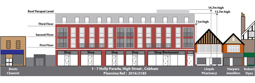 Proposed Front Elevation of Holly Parade, High Street, Cobham